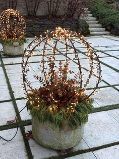 Christmas container: sphere, tiny lights