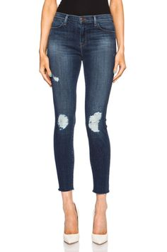 J Brand Cropped Mid Rise Skinny in Trouble Maker   FWRD