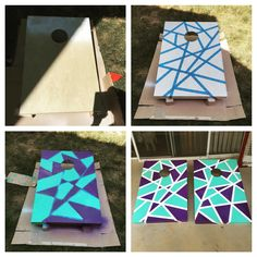 DIY cornhole boards. Fun geometric design using purple and teal for the Charlotte Hornets. Had a ton of fun putting these together and it was a great weekend afternoon project.