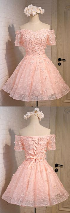 Pink A-line Off-the-shoulder Short Tulle Homecoming Dress With Flowers