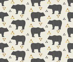 Bears & Triangles-Dark Gray, Mustard, & Cream by bohemiangypsyjane