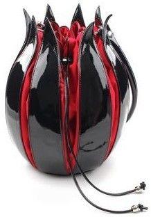 NN 'Enamel Tulip' Black & Red #Handbag by by-Lin Handmade Handbags & Accessories - amzn.to/2ij5DXx Clothing, Shoes & Jewelry - Women - handmade handbags & accessories - http://amzn.to/2kdX3h7