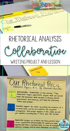 Writing a Class Collaborative Précis Write a collaborative rhetorical analysis précis in your middle school or high school English language arts class. Writing collaboratively helps students learn how to analyze rhetoric. Writing Classes, Writing Lessons, Writing Workshop, Teaching Writing, Teaching English, Teaching Tips, Math Lessons, Persuasive Writing, Writing Process