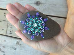Greens and Purples Painted Mandala Stone