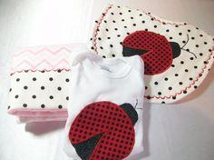Ladybug Baby Gift Set  Ladybug Baby Bib  Ladybug by PeaPodLilFrogs