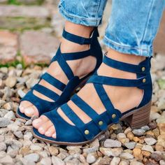 Women's Casual Peep Toe Multi-Strap Med Chunky Heeled Heels Hollow Out Sandals with Rivets Chunky Heel Shoes, Mid Heel Sandals, Chunky High Heels, Thick Heels, Lace Up Sandals, Open Toe Sandals, Women's Sandals, Gladiator Heels, Beach Sandals