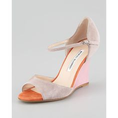 Manolo Blahnik Weldina Suede Mary Jane Patent Wedge Sandal, Taupe ($695) ❤ liked on Polyvore