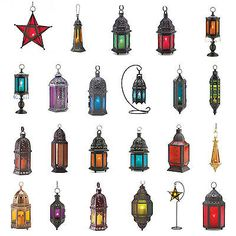Hanging Tabletop Candle Lanterns Color Glass Panels Blue Purple Amber Red Green | eBay