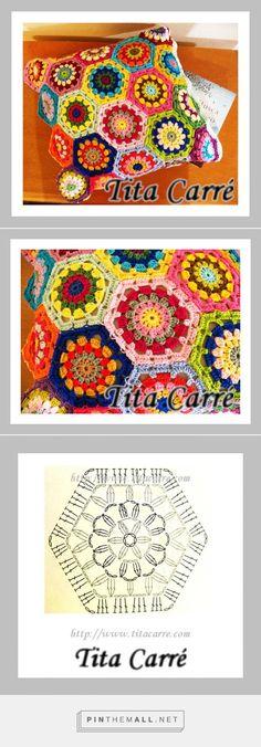 Tita Carré  Agulha e Tricot : Almofada de Hexágonos coloridos em busca de abrigo - created via http://pinthemall.net