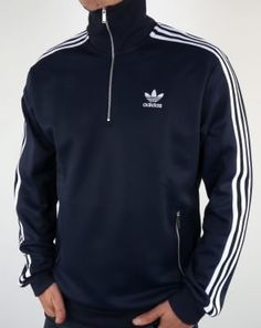 Adidas Originals 90s Half Zip Track Top Navy Tracksuit Tops, Ellesse,  Lacoste, Casual 85b7b518ac