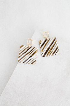 Safari Square Drop Earrings | White Stripe $15