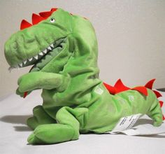 "Ikea Laskig Dragon Puppet Plush Green Glove Soft Stuffed Animal 11"" Tall #Ikea"