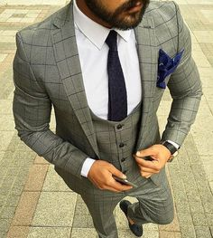 Three piece grey patterned suit
