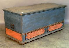 """Pennsylvania painted dower chest, 18th c., 22"""" h., 50"""" w."""