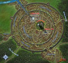 Ezran City Map by Mickezilla on DeviantArt Fantasy City Map, Fantasy World Map, Fantasy Places, Dnd World Map, Environment Map, Pathfinder Maps, Village Map, City Layout, Dungeon Maps