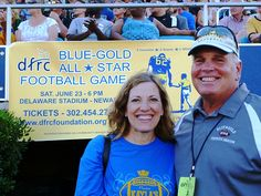 Secretary Landgraf with Tony Glenn, executive director of the Delaware Foundation Reaching Citizens (DFRC) with intellectual disabilities, at the June 23 DFRC Blue-Gold All-Star Football Game.