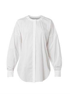 Pinstriped collarless cotton shirt   Chloé   MATCHESFASHION.COM