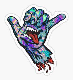 'Santa Cruz' Sticker by katiesdesign Tumblr Stickers, Cool Stickers, Laptop Stickers, Skateboard Design, Skateboard Art, Santa Cruz Logo, Santa Cruz Hand, Santa Cruz Stickers, Surfboard Stickers