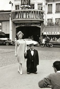 Zsa Zsa Gabor and Buster Keaton, the Moulin Rouge, Paris, 1959