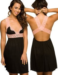 Black Sleepwear Nightgown  Lace Trim Sleep Dres by NaughtyNaughty