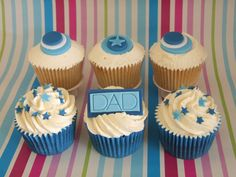How about a box of delicious cupcakes to say 'I love you Dad'? Vanilla and sticky toffee cupcakes with buttercream swirls and handmade fondant decorations Fondant Cupcakes, Yummy Cupcakes, Mini Cupcakes, Cupcake Cakes, Cupcake Ideas, Fathers Day Cupcakes, Fathers Day Cake, Sticky Toffee Cupcakes, Cap Cake