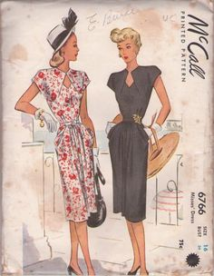 Vintage 40's Envelope Flapped Peekaboo Keyhole Bodice, Draped Pockets Swing Era Evening Dress, Party Gown