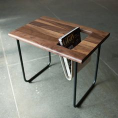 Hip Pocket Table — The Hip Pocket is a side table with a bonus: an elegantly integrated sling that gobbles up your magazines, tablet, e-reader - whatever is cluttering up your living room. At just 15 inches wide, the Hip Pocket fits where many side tables won't. Still, the back surface is big enough for a lamp or an objet d'art, and the spot in front is thoughtfully sized for a coaster. http://www.consignd.com/consignments/2983 I want this for my apartment...