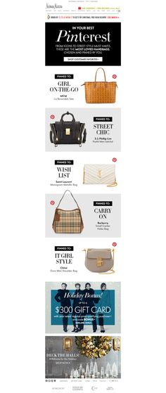 Neiman Marcus showed their 'most-loved handbags' based on Pins from their boards.