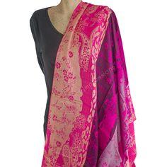 Bright Pink Banded Pashmina Scarf Shawl