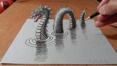 How to Draw Monster, Drawing 3D Loch Ness Monster, By Vamos – Hildur.K.O