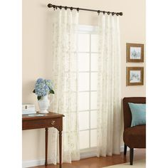 Better Homes and Gardens Embroidered Sheer Curtain Panel: Decor : Walmart.com