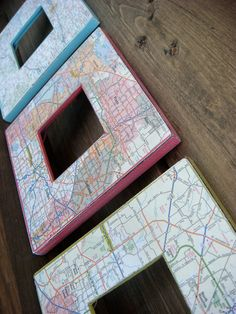 MultiColored Road Map Frames Set of 3 by MDesignTree on Etsy, $36.00