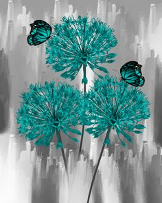Teal Gray Wall Pictures, Teal Flowers Butterflies, Bathroom Bedroom Teal Home Decor Matted Picture T Teal Home Decor, Home Decor Wall Art, Art Floral, Bathroom Wall Art, Office Bathroom, Bedroom Office, Bedroom Art, Images Murales, Art Mat
