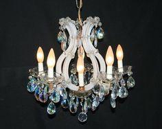 sr Rare Vintage White Milk Glass Crystal Petite Maria Theresa Chandelier Fixture