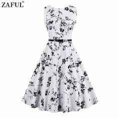 Women summer Retro vintage Rockabilly Dress Pin Up 4XL feminine Vestidos 50s Party Robe White Cotton Floral printed  dress