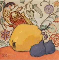Mussini oil paints on linen canvas painting with Paradise Bird on a William Morris Wallpaper, Black Figs and Yellow Quince. #art #stillife # wallpaper #lifestyle #svetlana_kurmaz William Morris Wallpaper, Morris Wallpapers, Oil Painting On Canvas, Canvas Art, Black Fig, Willow Branches, Small Canvas, Art Deco Fashion, Pattern Wallpaper