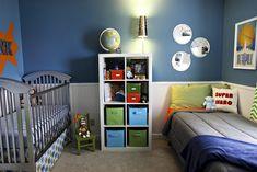 cutest kids room! Superman theme Baby And Toddler Shared Room, Shared Boys Rooms, Shared Bedrooms, Toddler Rooms, Baby Boy Rooms, Kids Rooms, Boy Girl Room, Child Room, Kids Room Paint