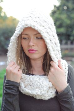 Hooded scarf off white chunky scarf spring scarf fall by Shanionie