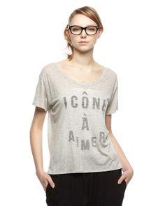 ROUGE VIF LA CLE グレー スラブロゴTシャツ