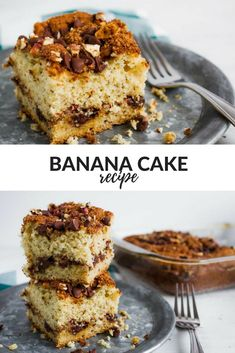 One Of Our Favorite Recipes For Overripe Bananas Is This Banana Cake Recipe! A Delicious Banana Cake With Sour Cream And Cinnamon! This Banana Cake Is A Crowd Pleaser! #cake #cakerecipes #banana #bananarecipes #overripebananas #cinnamon #cinnamonbananacake #chocolatechips #pecans #walnuts #coffeecake #sourcream