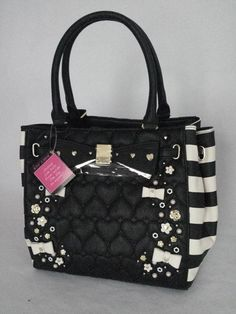 Betsey Johnson 3D FLOWERS TOTE Bag BM19405 STRIPES, Quilted Hearts, Expandable! #BetseyJohnson #TotesShoppers