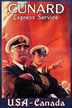 Cunard Line Express 1937 USA Canada http://stores.ebay.com/Vintage-Poster-Prints-and-more