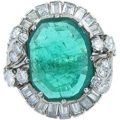 Preowned 5 Carat Emerald Diamond Gold Ring ($14,995) ❤ liked on Polyvore featuring jewelry, rings, green, emerald gold ring, round diamond ring, green diamond ring, fancy diamond rings and pre owned diamond rings