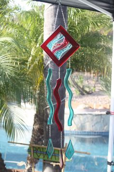 Fused Glass Windchime/Suncatcher- Red Waves. $60.00, via Etsy.