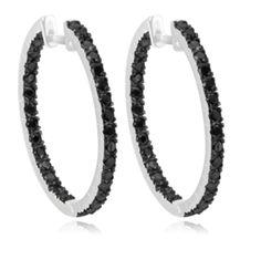 $19.99 - 3 Carat Black Spinel and Sterling Silver Hoop Earrings