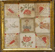 a watercolor folding valentine on paper, American mid 19th century....