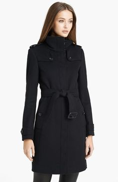 $1,495, Black Coat: Burberry London Basingstoke Wool Cashmere Coat. Sold by Nordstrom. Click for more info: https://lookastic.com/women/shop_items/108684/redirect