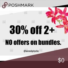 Bundle and save-NO offers on bundles Bundle 2+ items and save 30% off on EACH item plus you're saving on shipping for additional items. NO OFFERS ON BUNDLED ITEMS WILL BE ACCEPTED. Thank you for reading this. 😊 Other
