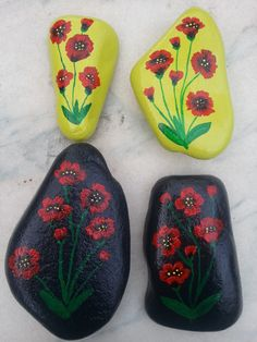 4 Pretty Poppies groups, painted on colored stones!!
