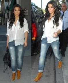 Kim Kardashian - baggy blouse, distressed skinnies, and booties!!  Although, I would do different booties for myself.